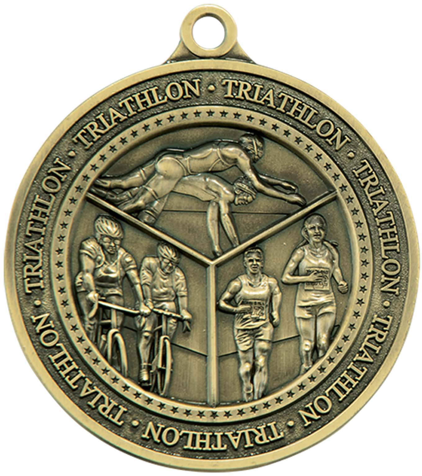 "Antique Gold Olympia Triathlon Medal 60mm (2.25"")"