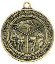"Antique Gold Olympia Triathlon Medal 60mm (2.25"")"