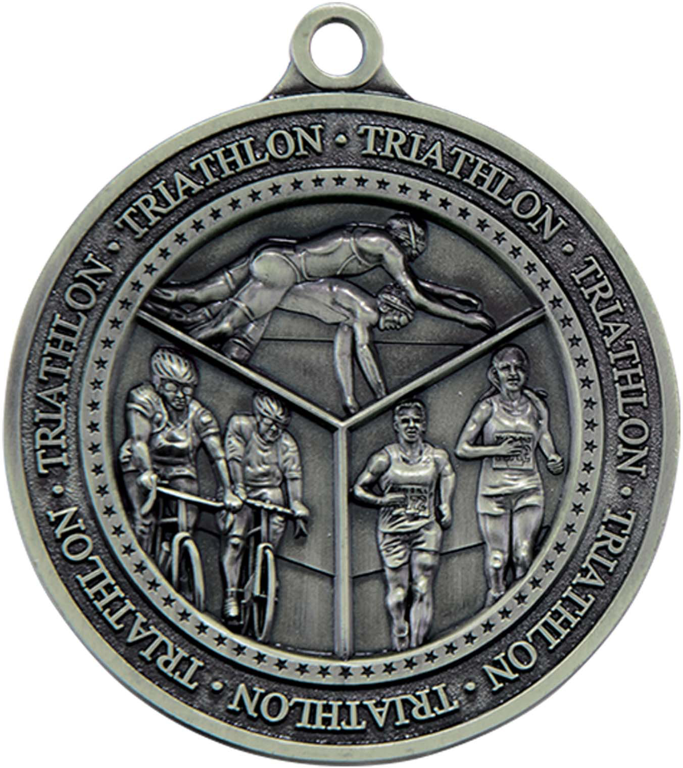 "Antique Silver Olympia Triathlon Medal  60mm (2.25"")"