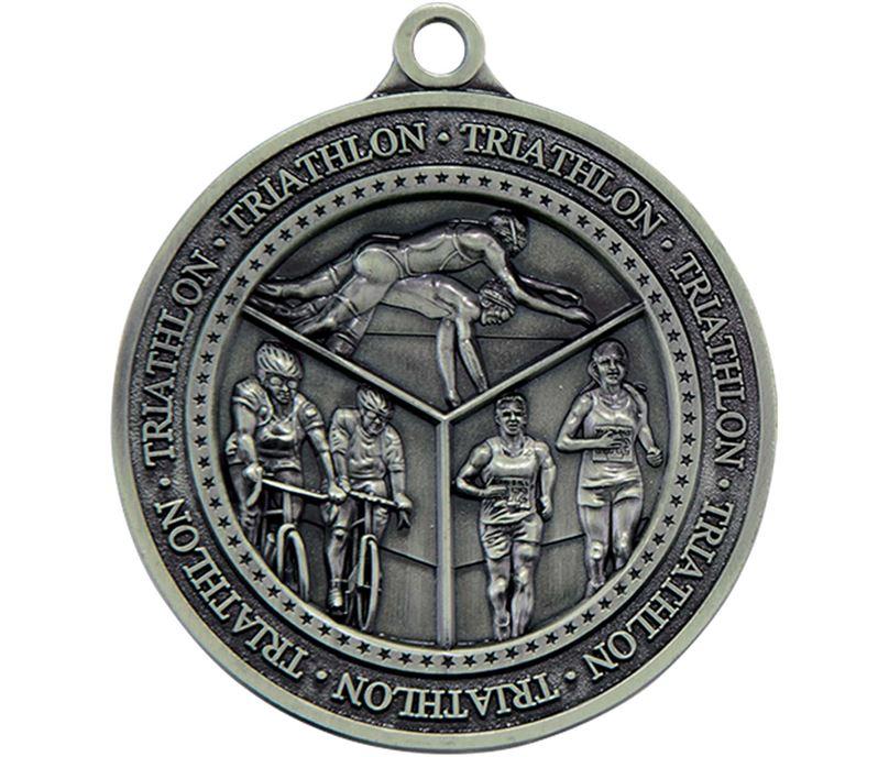 """Antique Silver Olympia Triathlon Medal  60mm (2.25"""")"""