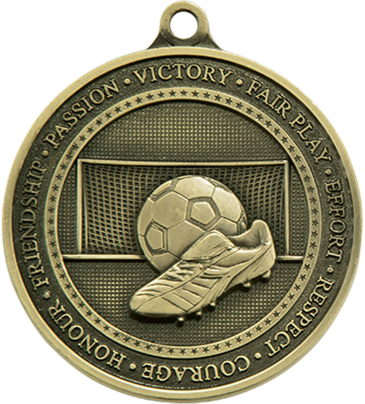"""Antique Gold Olympia Football Medal 70mm (2.75"""")"""