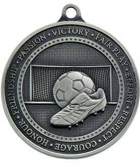 """Antique Silver Olympia Football Medal 70mm (2.75"""")"""