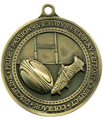 "Antique Gold Olympia Rugby Medal 60mm (2.25"")"