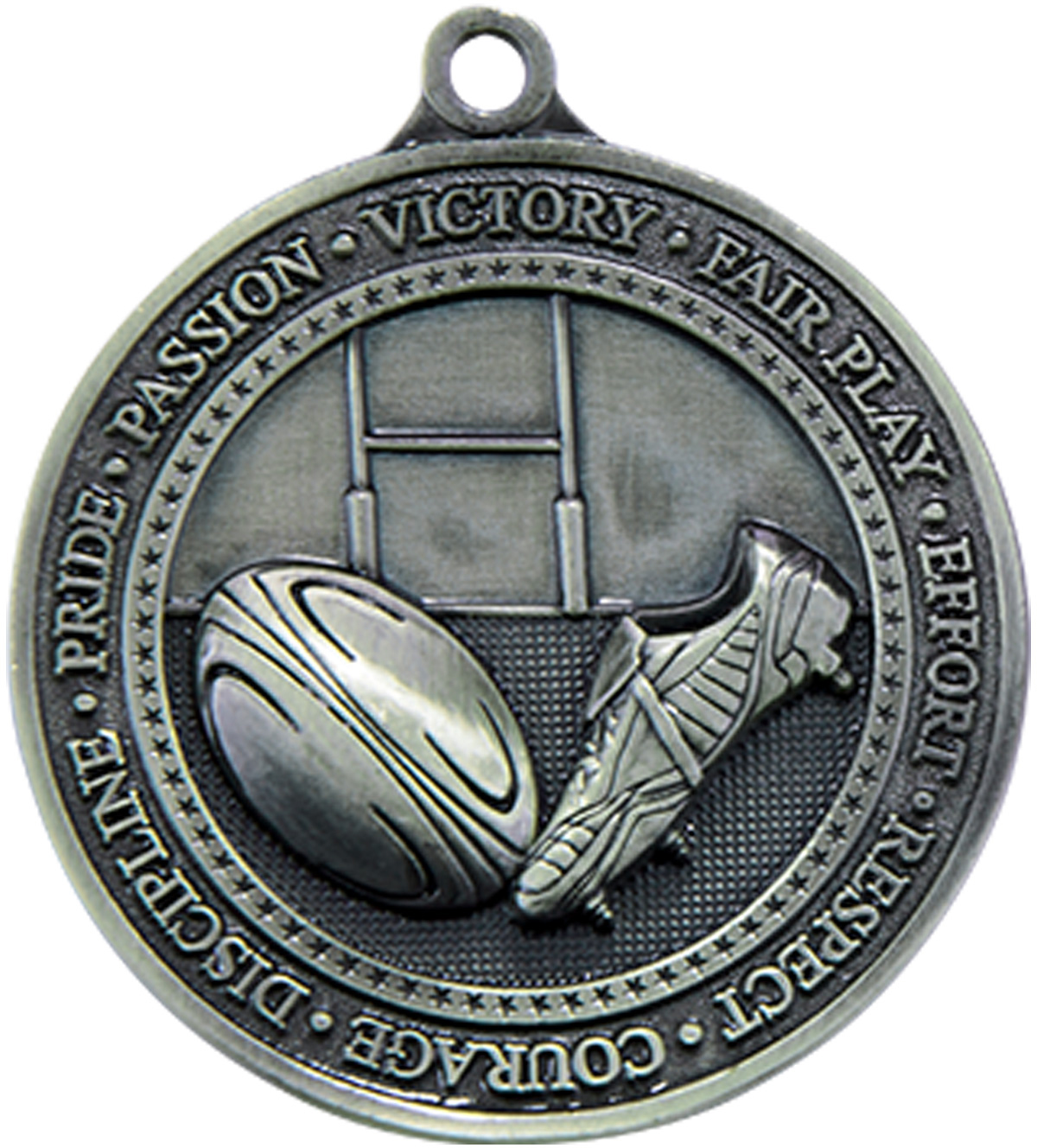 "Antique Silver Olympia Rugby Medal 60mm (2.25"")"