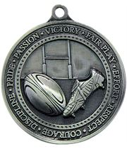 """Antique Silver Olympia Rugby Medal 60mm (2.25"""")"""