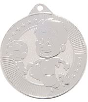 """Little Champion Silver Football Medal 45mm (1.75"""")"""