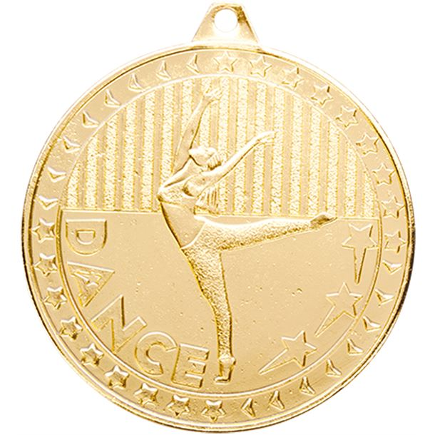 """Gold Discovery Dance Medal 50mm (2"""")"""