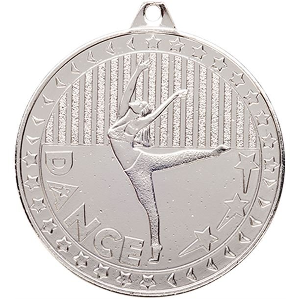 """Silver Discovery Dance Medal 50mm (2"""")"""