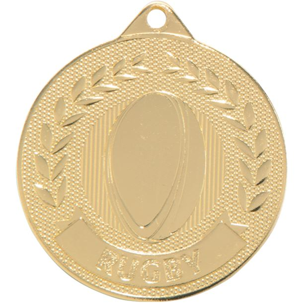 """Gold Discovery Rugby Medal 50mm (2"""")"""