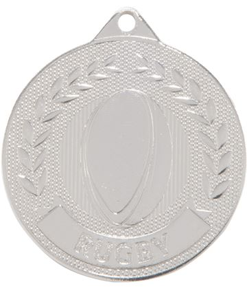 "Silver Discovery Rugby Medal 50mm (2"")"