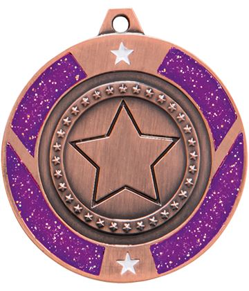 "Bronze & Purple Glitter Star Medal 50mm (2"")"
