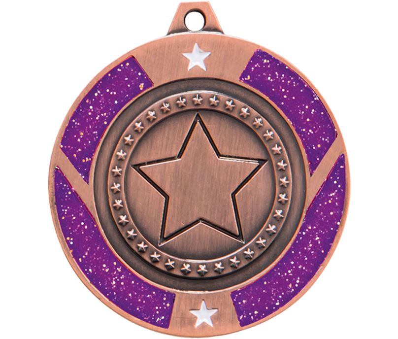 "Bronze & Purple Glitter Star Medal 50mm (2"")"