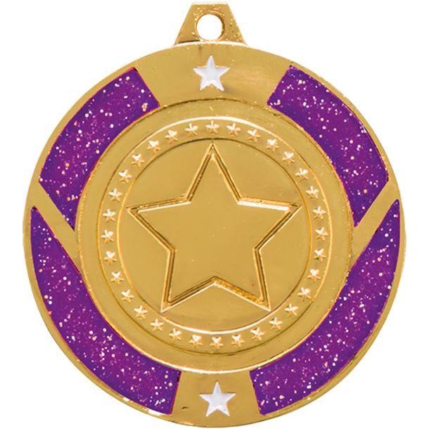 "Gold & Purple Glitter Star Medal 50mm (2"")"