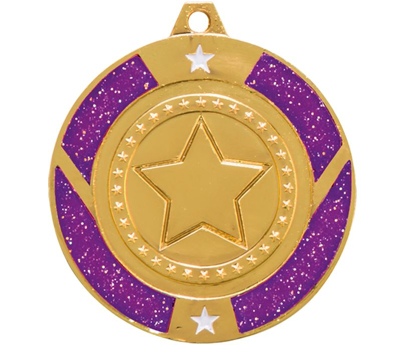 "Gold & Purple Glitter Star Medal 50mm (2"")"