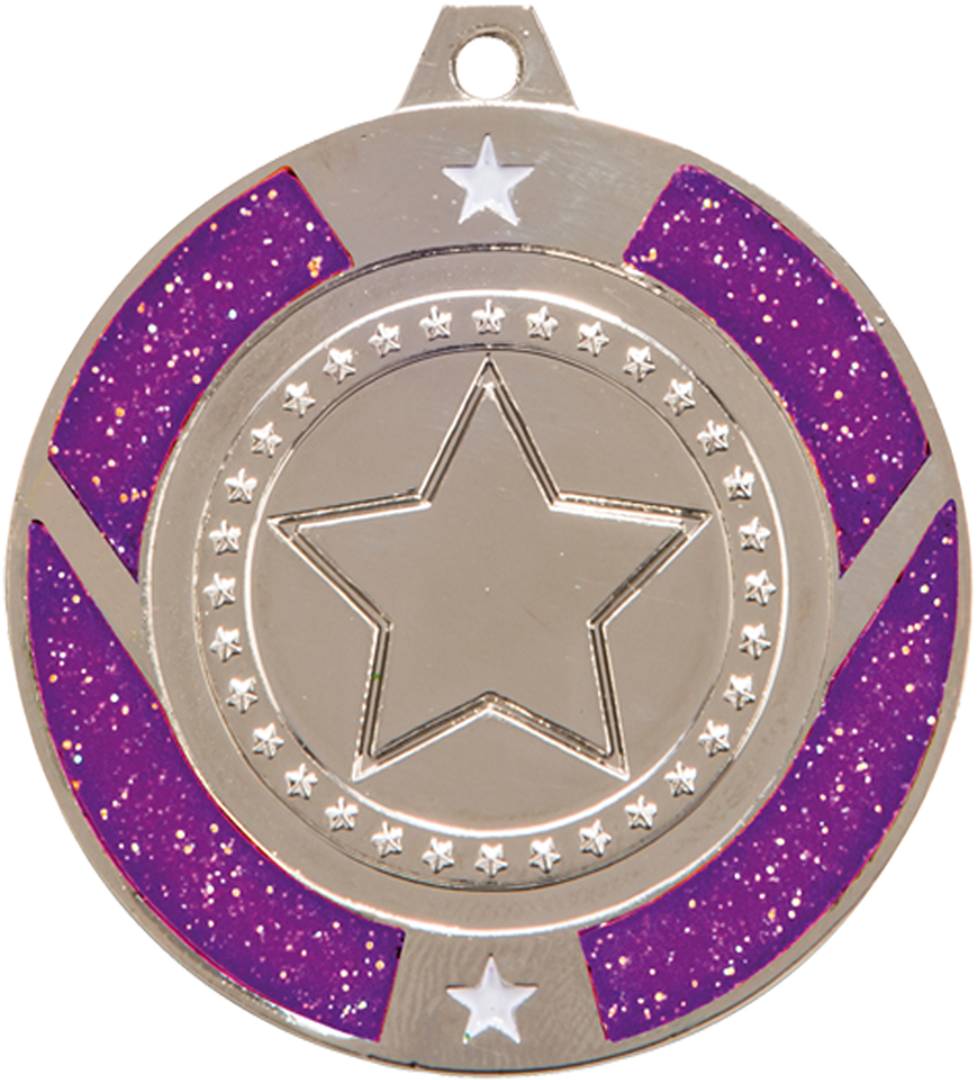 "Silver & Purple Glitter Star Medal 50mm (2"")"