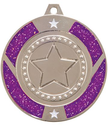 "Silver & Purple Glitter Star Medal 50mm (2"")"