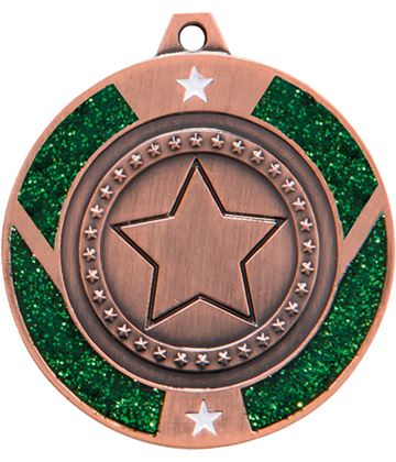 "Bronze & Green Glitter Star Medal 50mm (2"")"