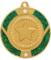 "Gold & Green Glitter Star Medal 50mm (2"")"