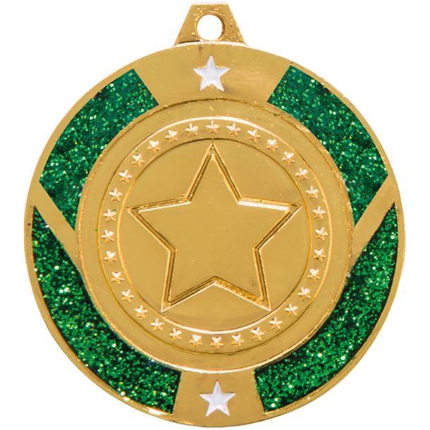 """Gold & Green Glitter Star Medal 50mm (2"""")"""