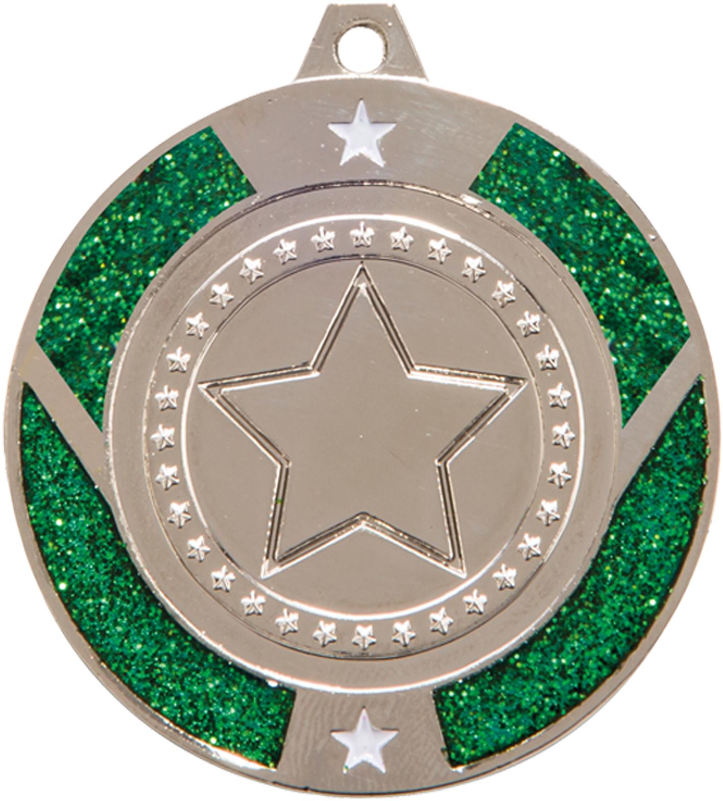 "Silver & Green Glitter Star Medal 50mm (2"")"