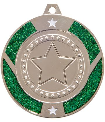 "Silver & Green Glitter Star Medal 50mm (2"")"