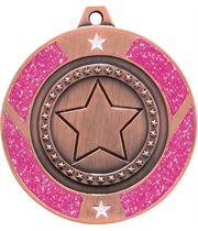 "Bronze & Pink Glitter Star Medal 50mm (2"")"