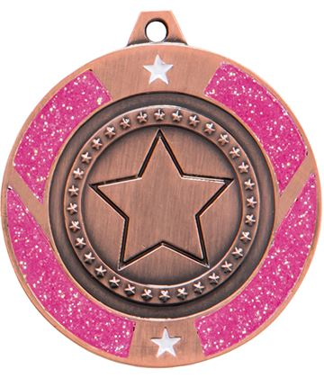 "Bronze & Pink Glitter Star Medal 50mm (2"")"