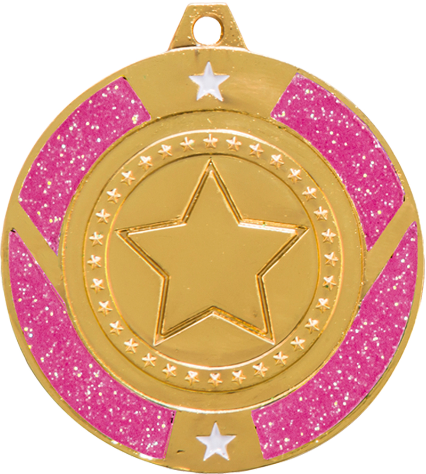 "Gold & Pink Glitter Star Medal 5cm (2"")"