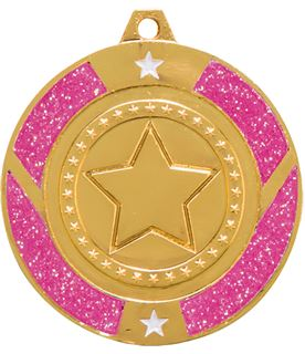 "Gold & Pink Glitter Star Medal 50mm (2"")"