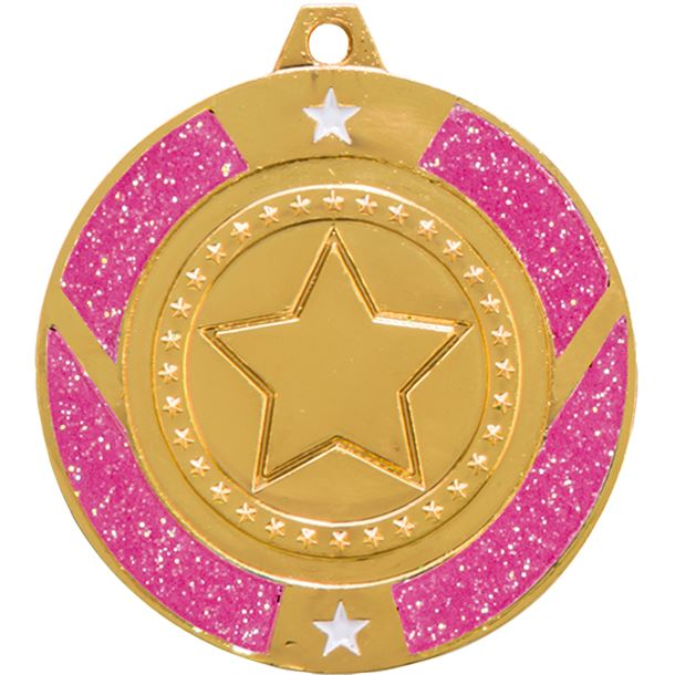 "Gold & Pink Glitter Star Medal 50mm (2"")"