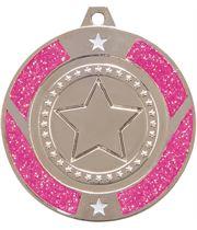 "Silver & Pink Glitter Star Medal 50mm (2"")"