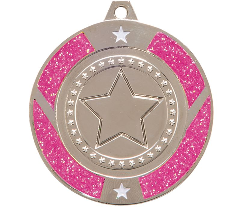 "Silver & Pink Glitter Star Medal 50mm (2"")"