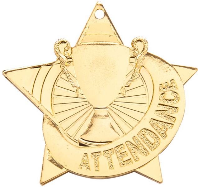 """Gold Cosmo Star Attendance Medal 50mm (2"""")"""