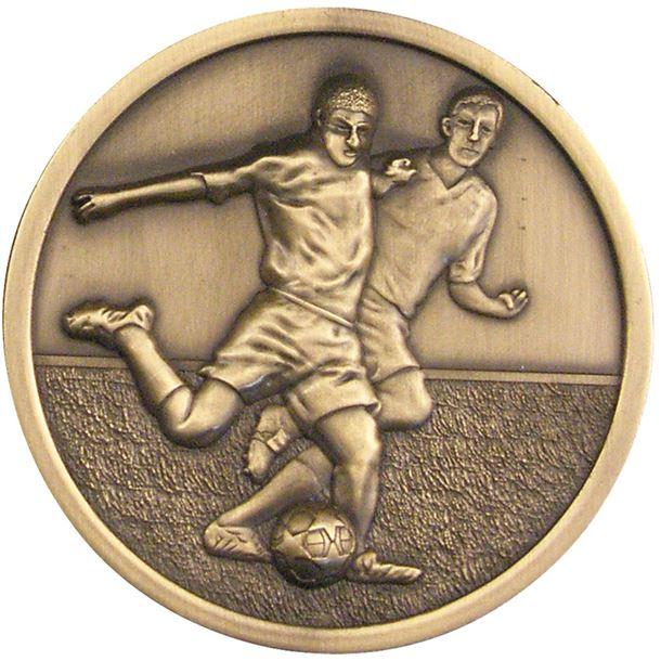 "Football Player Presentation Medal Antique Gold 70mm (2.75"")"