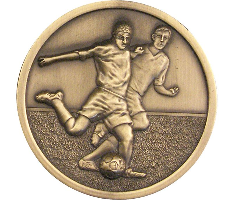 "Football Player Presentation Medal Antique Gold 70mm (2.75"")"