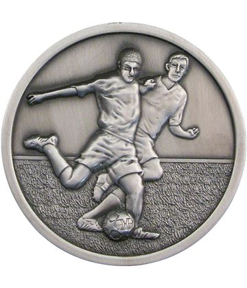 "Football Player Presentation Medal Antique Silver 70mm (2.75"")"