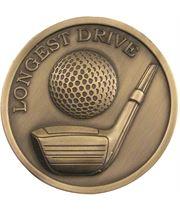"Antique Gold Longest Drive Golf Medallion 70mm (2.75"")"