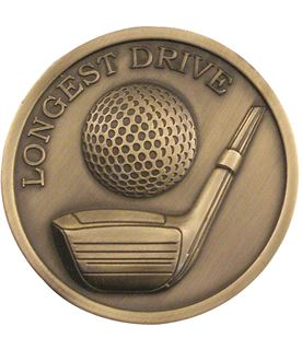 "Antique Gold Longest Drive Golf Medallion 70mm (2.75"")"