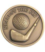 "Antique Gold Nearest The Pin Golf Medallion 70mm (2.75"")"