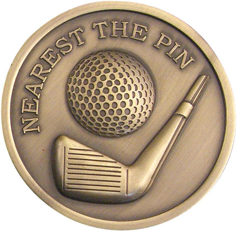 "Antique Gold Nearest The Pin Golf Medallion 70mm (2.75"")"