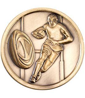 """Prestige Antique Gold Rugby Medal 7cm (2.75"""")"""