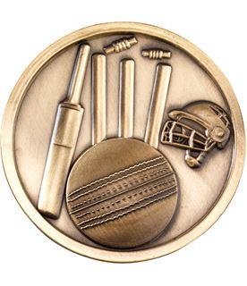 """Prestige Antique Gold Cricket Medal 7cm (2.75"""")"""