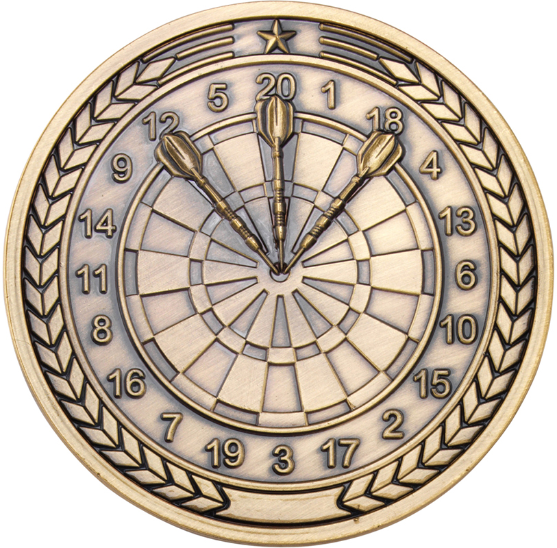 """Darts Presentation Medal Antique Gold 70mm (2.75"""")"""