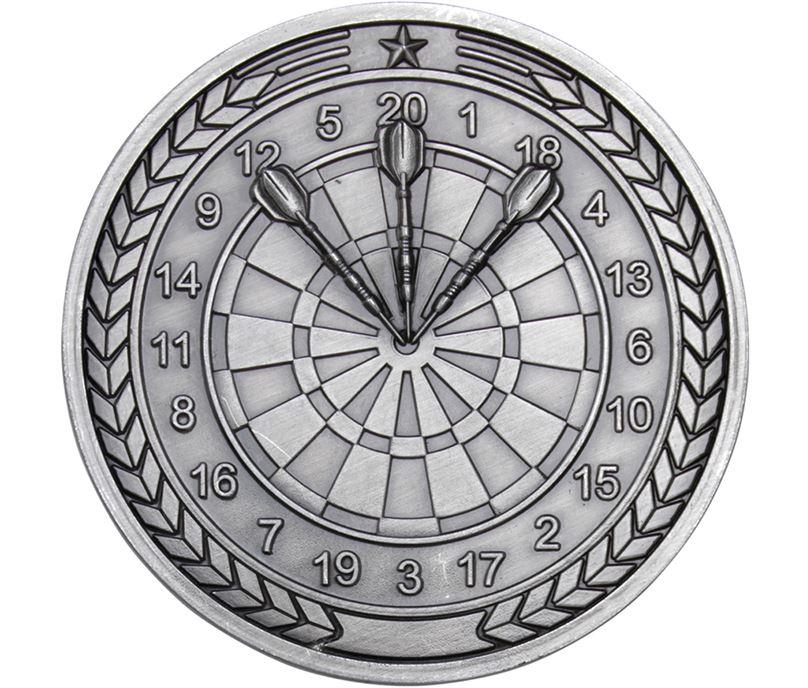"Darts Presentation Medal Antique Silver 70mm (2.75"")"