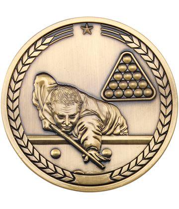 """Pool/Snooker Presentation Medal Antique Gold 70mm (2.75"""")"""