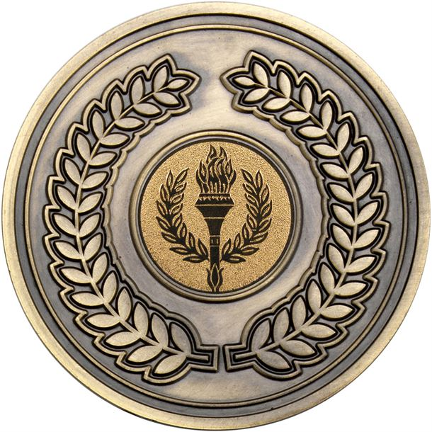 "Laurel Wreath Presentation Medal Antique Gold 70mm (2.75"")"