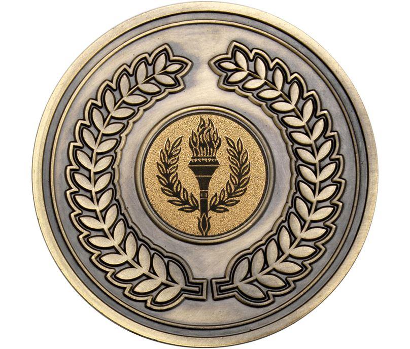 """Laurel Wreath Presentation Medal Antique Gold 70mm (2.75"""")"""