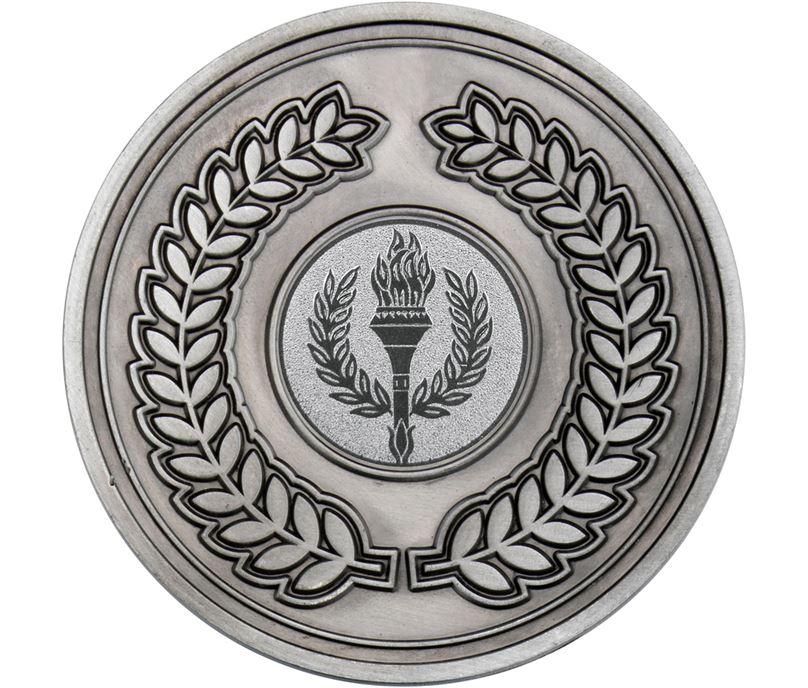 "Laurel Wreath Presentation Medal Antique Silver 70mm (2.75"")"