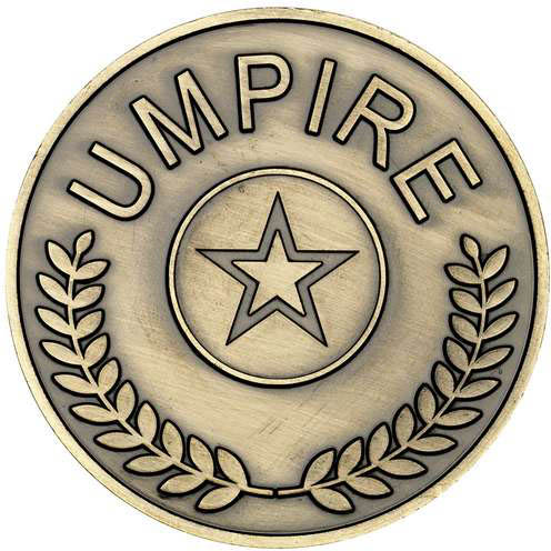 "Umpire Presentation Medal Antique Gold 70mm (2.75"")"
