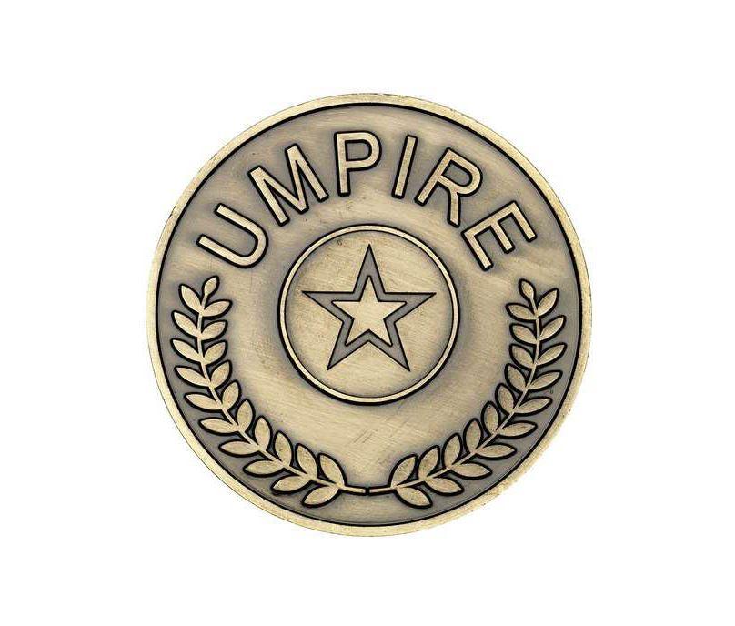 """Umpire Presentation Medal Antique Gold 70mm (2.75"""")"""